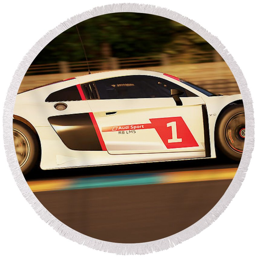 Audi Round Beach Towel featuring the photograph Audi R8 Lms - 04 by Andrea Mazzocchetti