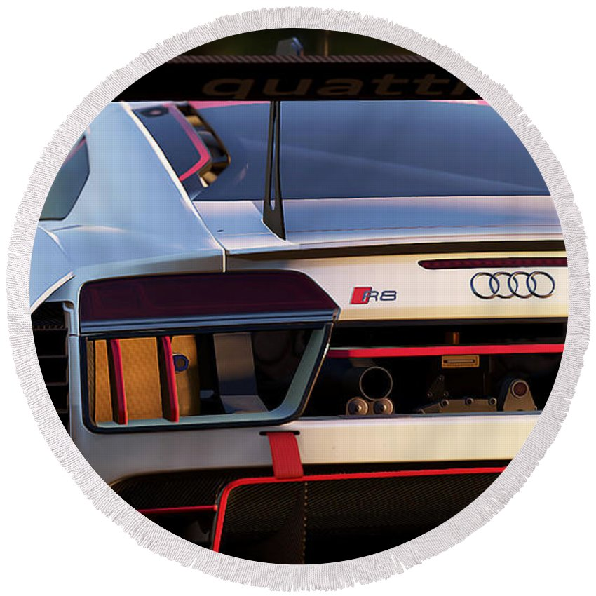 Audi Round Beach Towel featuring the photograph Audi R8 Lms - 06 by Andrea Mazzocchetti