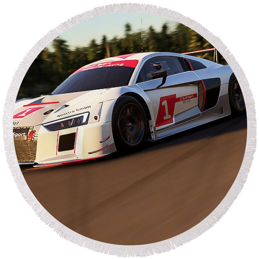 Audi Round Beach Towel featuring the photograph Audi R8 Lms - 09 by Andrea Mazzocchetti