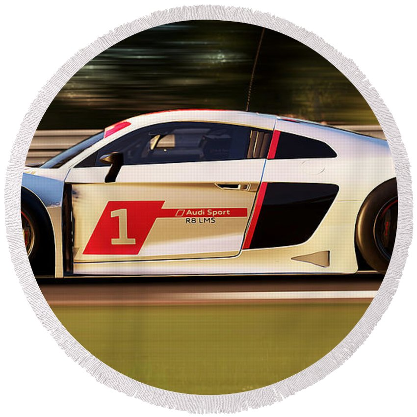 Audi Round Beach Towel featuring the photograph Audi R8 Lms - 15 by Andrea Mazzocchetti