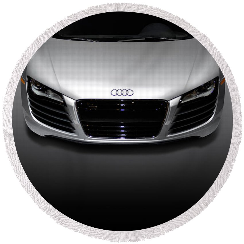 Audi R8 Round Beach Towel featuring the photograph Audi R8 Sports Car by Maxim Images Prints