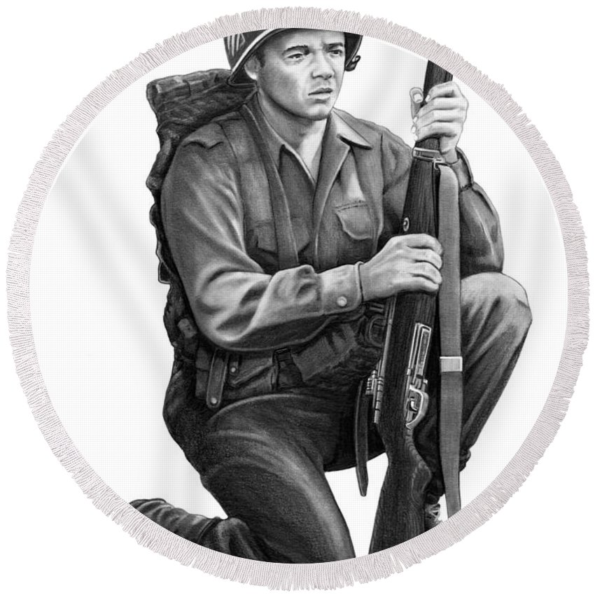 Pencil Round Beach Towel featuring the drawing Audie Murphy by Murphy Elliott