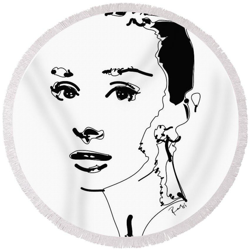 Actress Round Beach Towel featuring the digital art Audrey Hepburn by Rabi Khan