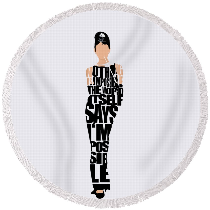 Audrey Hepburn Round Beach Towel featuring the digital art Audrey Hepburn Typography Poster by Inspirowl Design