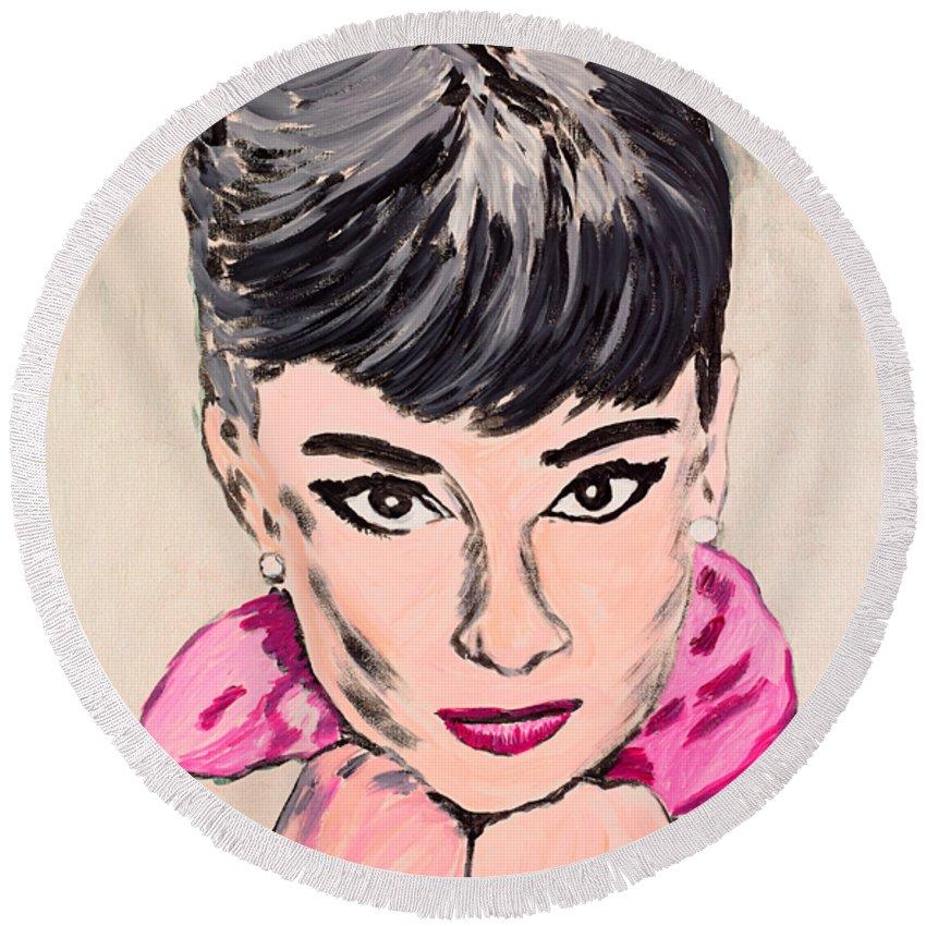 Portrait Round Beach Towel featuring the painting Audrey Hepburn by Valerie Ornstein
