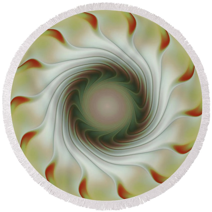Fractal Art Round Beach Towel featuring the digital art Auger Wheel Spin by Deborah Benoit