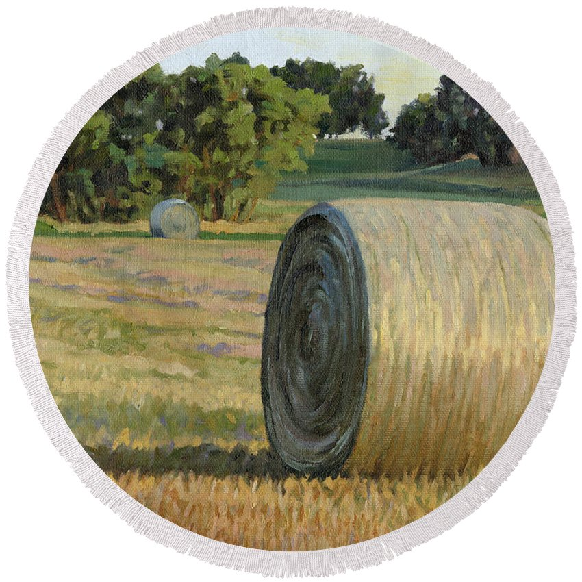 Landscape Round Beach Towel featuring the painting August Bales by Bruce Morrison