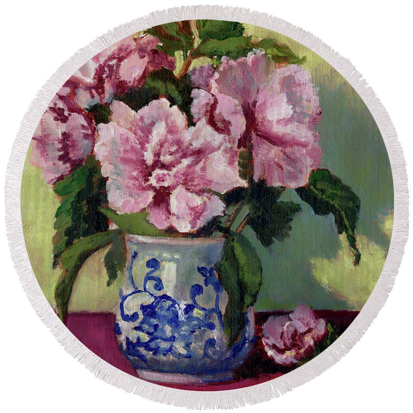 Impressionism Round Beach Towel featuring the painting August Blossoms by Keith Burgess