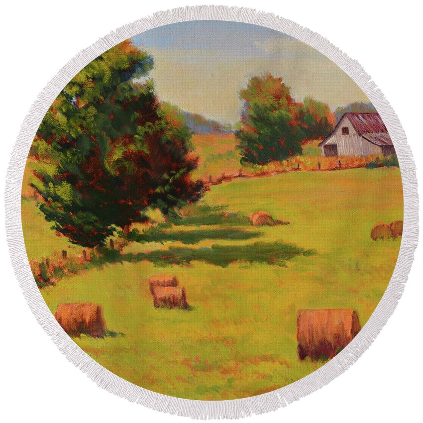 Impressionism Round Beach Towel featuring the painting August Hay Field by Keith Burgess