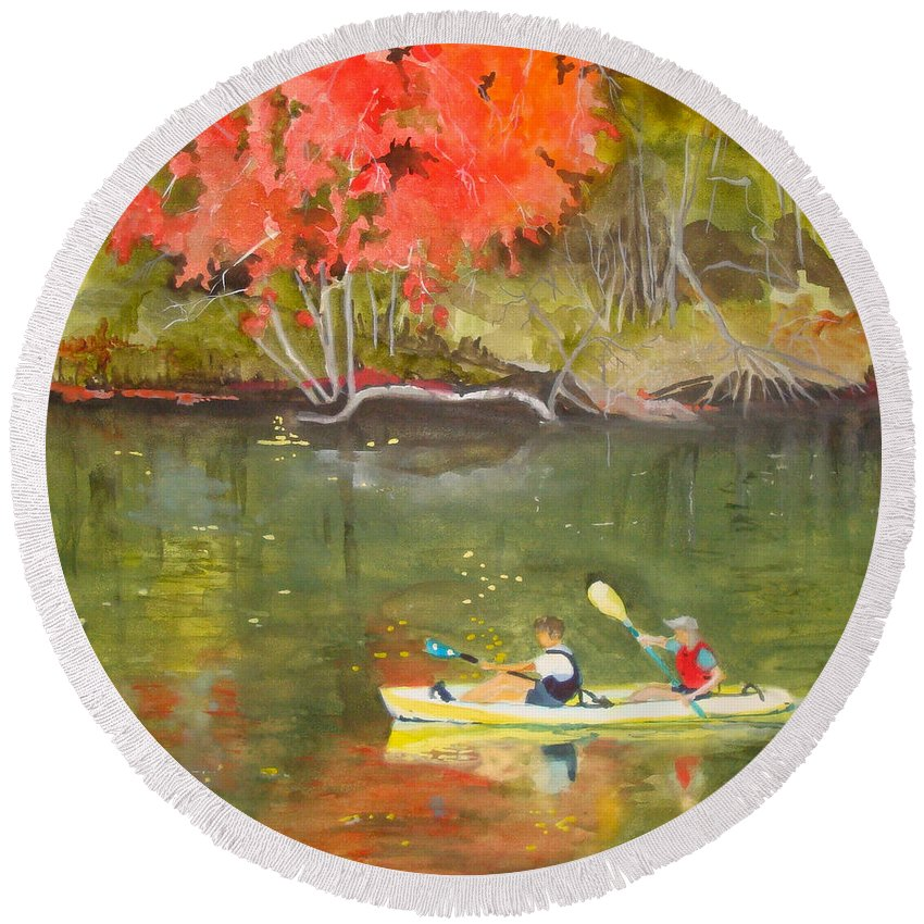 Water Round Beach Towel featuring the painting Augusta Canal Number Two by Jean Blackmer