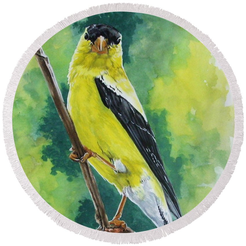 Common Bird Round Beach Towel featuring the painting Aureate by Barbara Keith