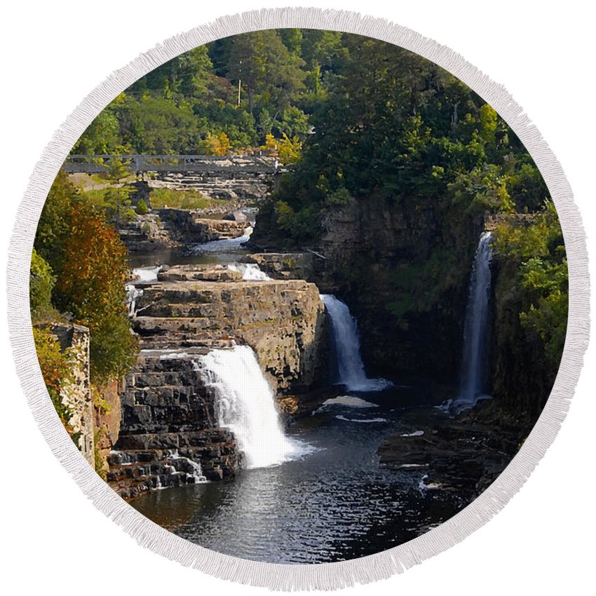 Ausable River Round Beach Towel featuring the photograph Ausable Falls by David Lee Thompson