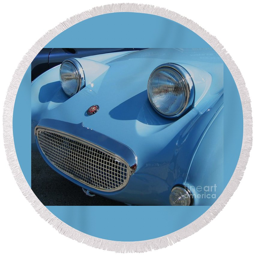 Austin Healy Round Beach Towel featuring the photograph Austin Healy Sprite by Neil Zimmerman