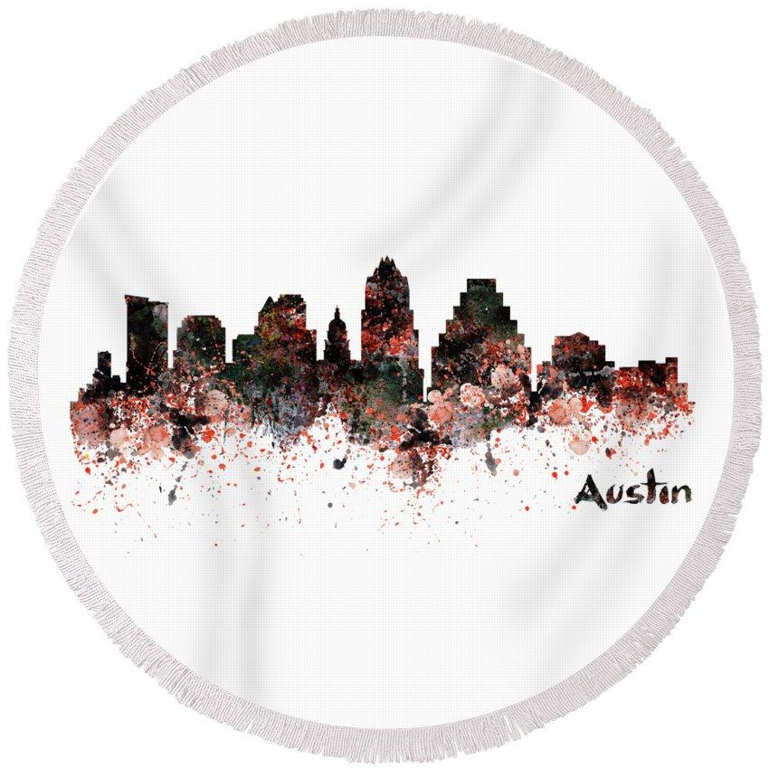 Austin Round Beach Towel featuring the painting Austin Skyline by Marian Voicu