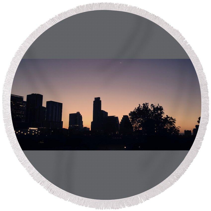 Butler Park Round Beach Towel featuring the photograph Austin Skyline Sunrise Into A Crescent Moon Panorma by Felipe Adan Lerma