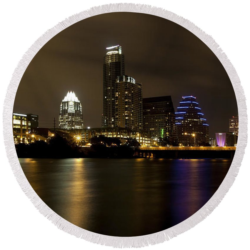 Austin Round Beach Towel featuring the photograph Austin Texas Skyline by Anthony Totah
