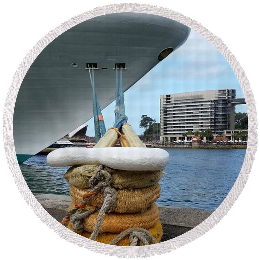 Australia Round Beach Towel featuring the photograph Australia - Cruise Ship Tied Up by Jeffrey Shaw