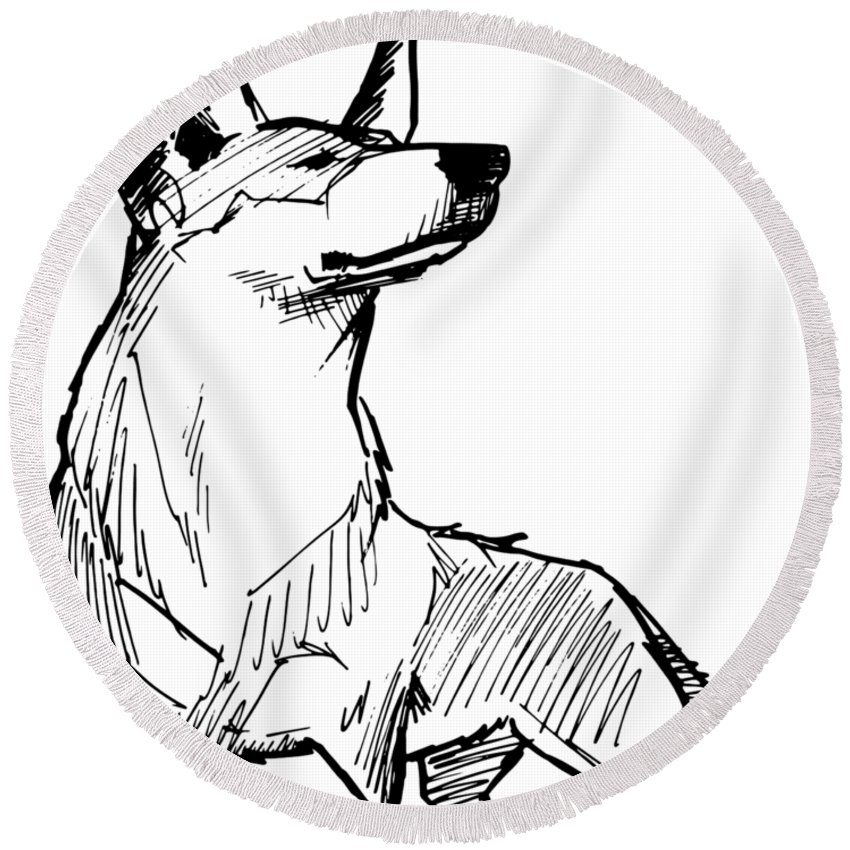 Australian Cattle Dog Gesture Sketch Round Beach Towel For Sale By