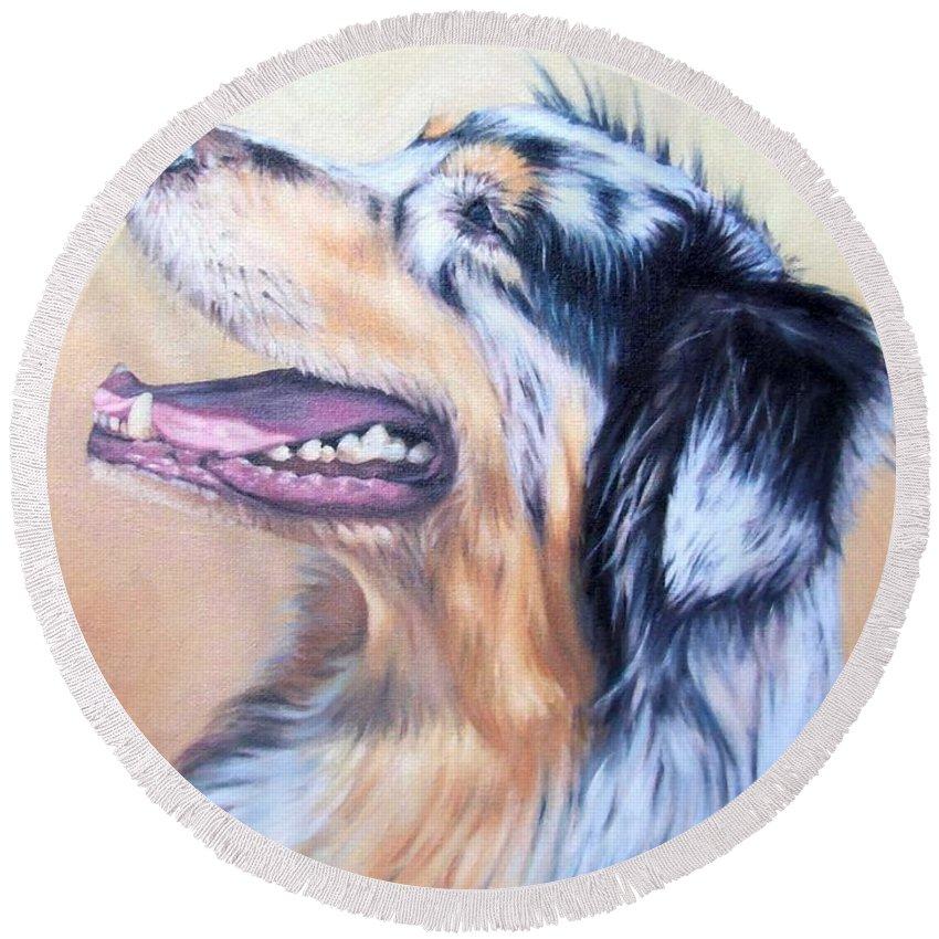 Dog Round Beach Towel featuring the painting Australian Shepherd Dog by Nicole Zeug