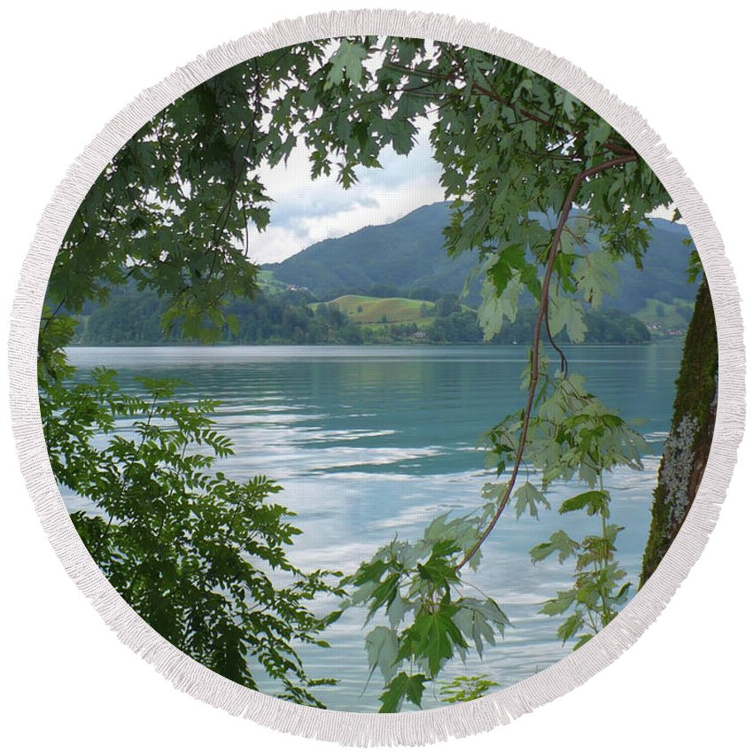Austria Round Beach Towel featuring the photograph Austrian Lake Through The Trees by Carol Groenen