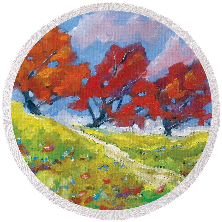 Art Round Beach Towel featuring the painting Automn Trees by Richard T Pranke