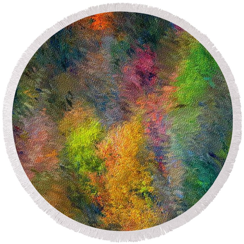 Landscape Round Beach Towel featuring the digital art Autum Hillside by David Lane