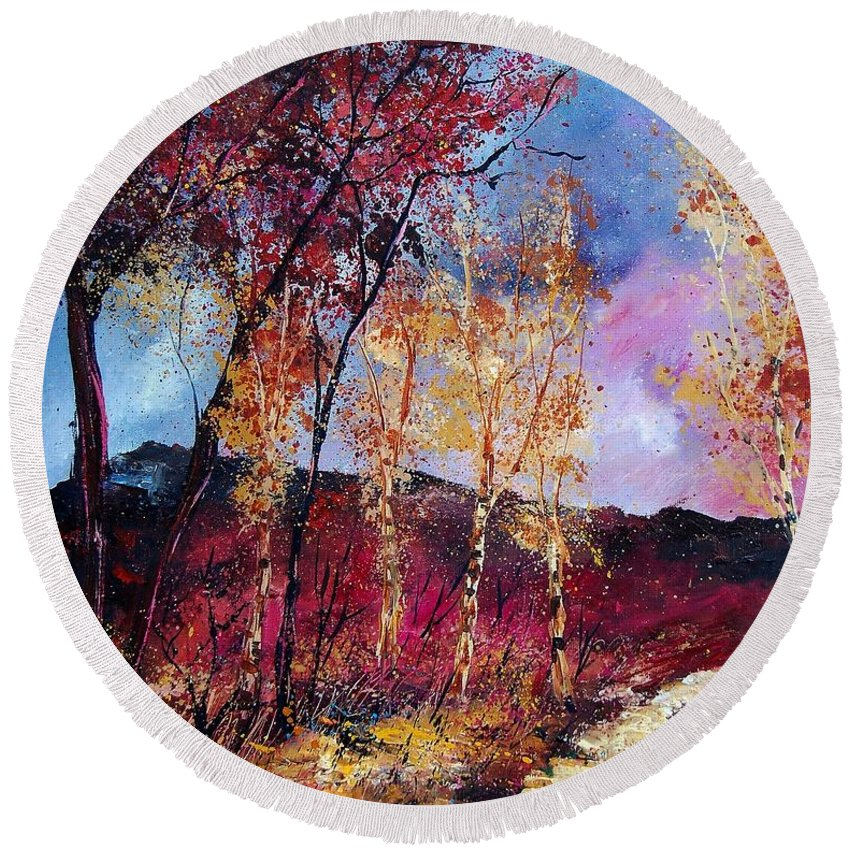 Landscape Round Beach Towel featuring the painting Autumn 760808 by Pol Ledent