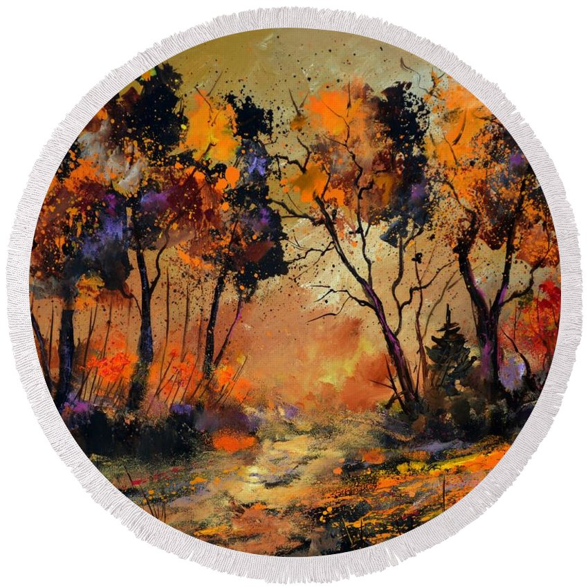Landscape Round Beach Towel featuring the painting Autumn 766130 by Pol Ledent