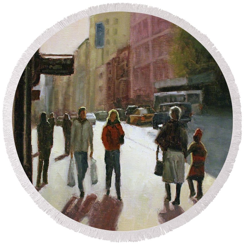 Oil Painting Round Beach Towel featuring the painting Autumn afternoon by Tate Hamilton