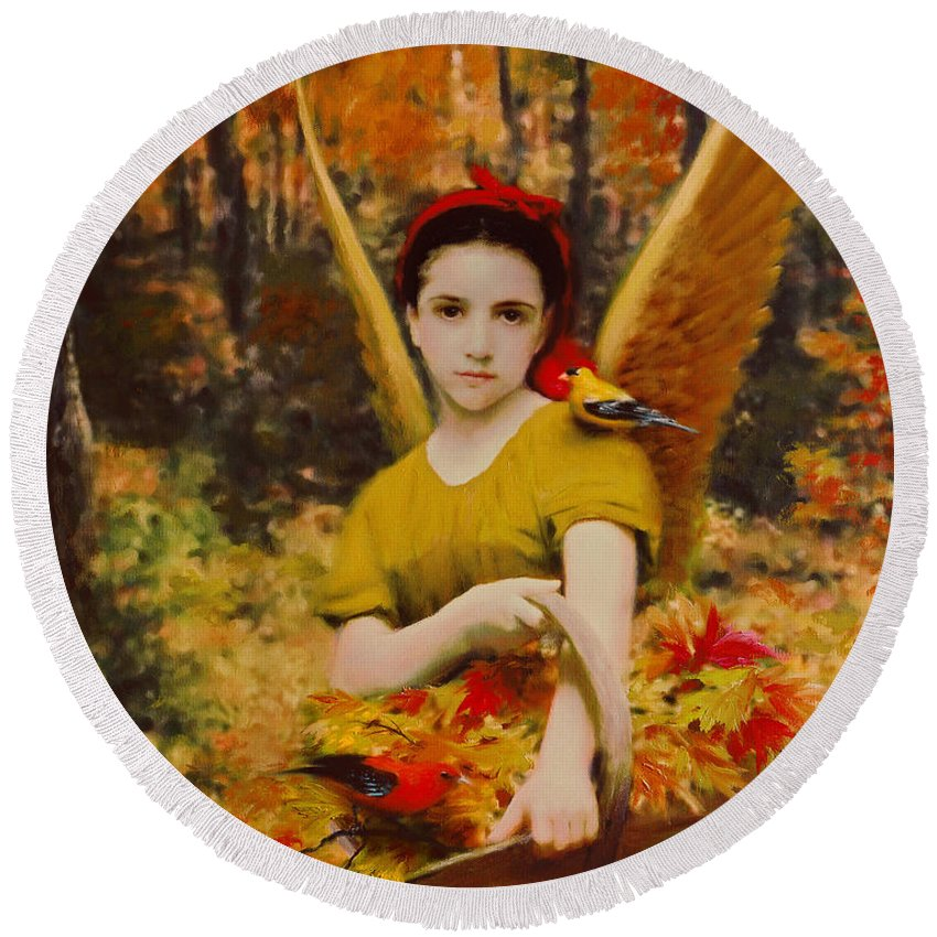 Angel Round Beach Towel featuring the painting Autumn Angels by Stephen Lucas