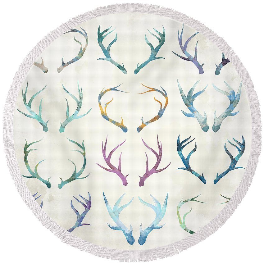 Autumn Round Beach Towel featuring the digital art Autumn Antlers by Spacefrog Designs