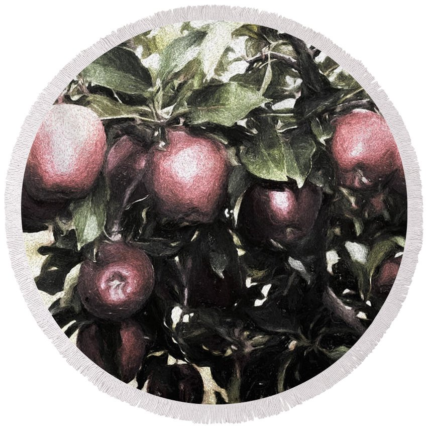 Luther Fine Art Round Beach Towel featuring the photograph Autumn Apples - Luther Fine Art by Luther Fine Art