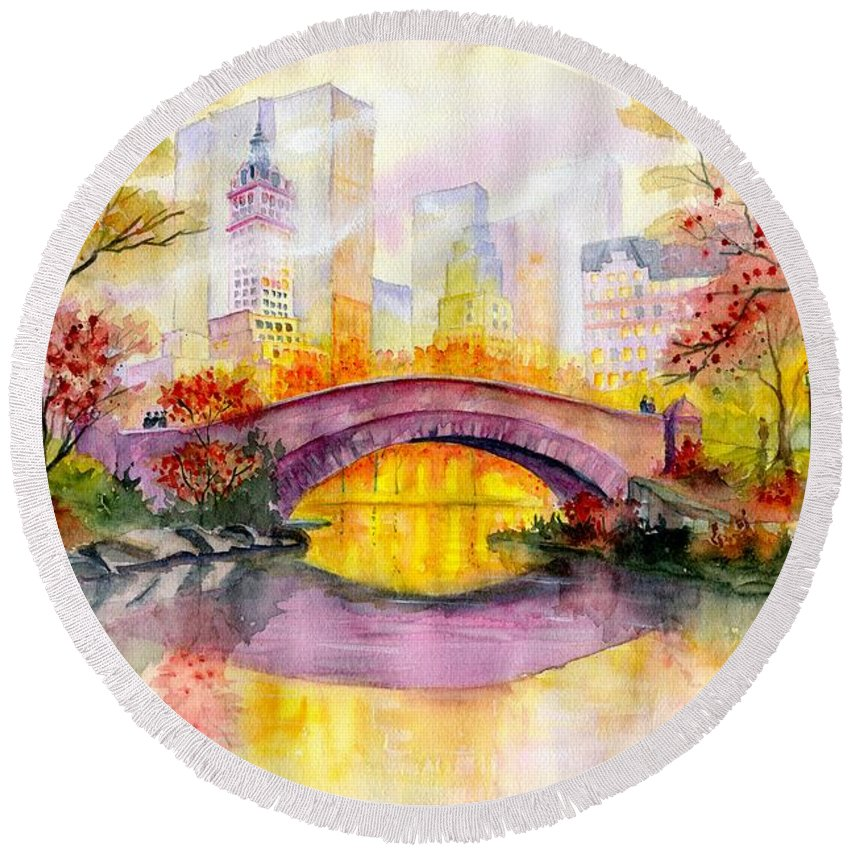 Autumn At Gapstow Bridge Central Park Round Beach Towel featuring the painting Autumn at Gapstow Bridge Central Park by Melly Terpening