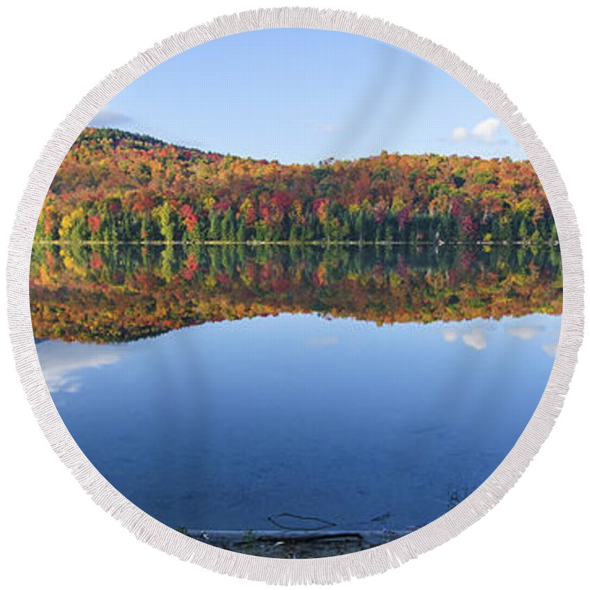 Adirondack Photo Round Beach Towel featuring the photograph Autumn At Heart Lake by Tony Beaver