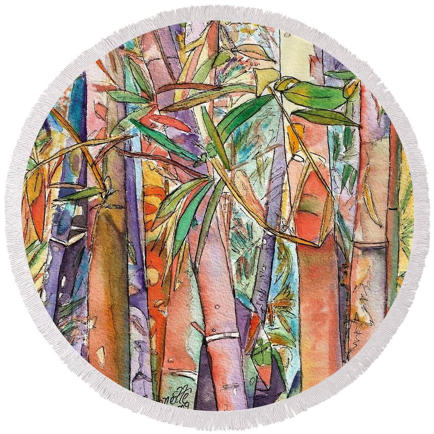 Bamboo Round Beach Towel featuring the painting Autumn Bamboo by Marionette Taboniar