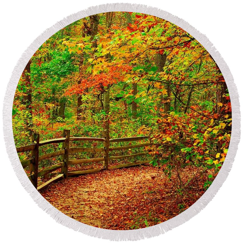 Autumn Landscapes Round Beach Towel featuring the photograph Autumn Bend - Allaire State Park by Angie Tirado