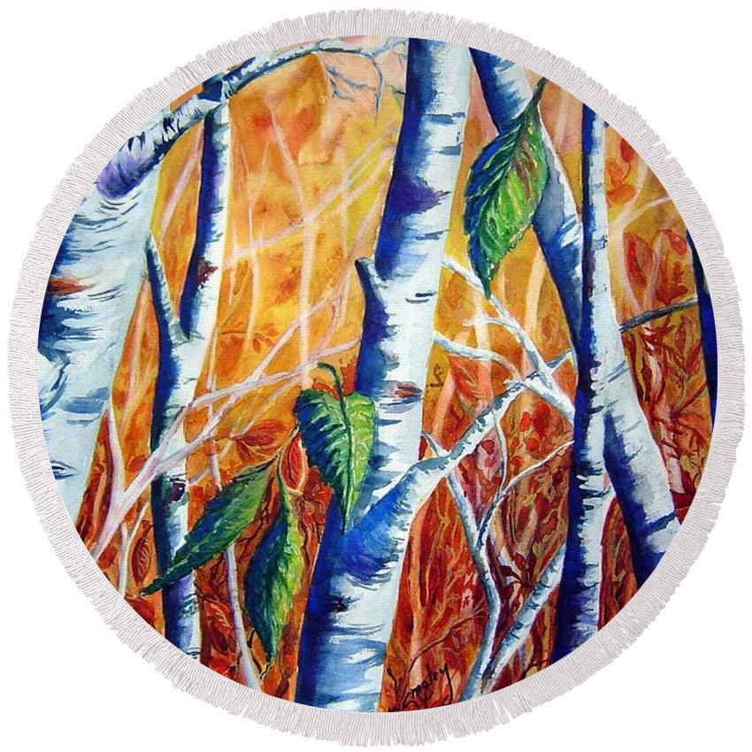 Autumn Birch Trees Round Beach Towel featuring the painting Autumn Birch by Joanne Smoley