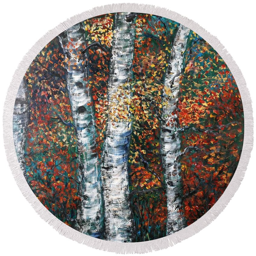 Birch Round Beach Towel featuring the painting Autumn Birch by Nadine Rippelmeyer