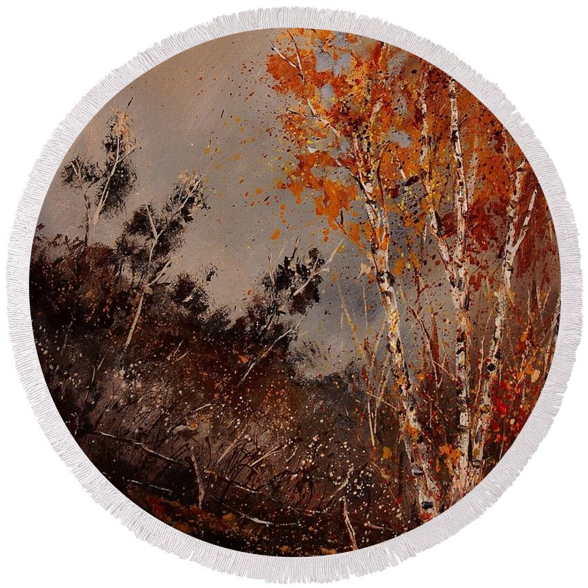 Tree Round Beach Towel featuring the painting Autumn Birches by Pol Ledent