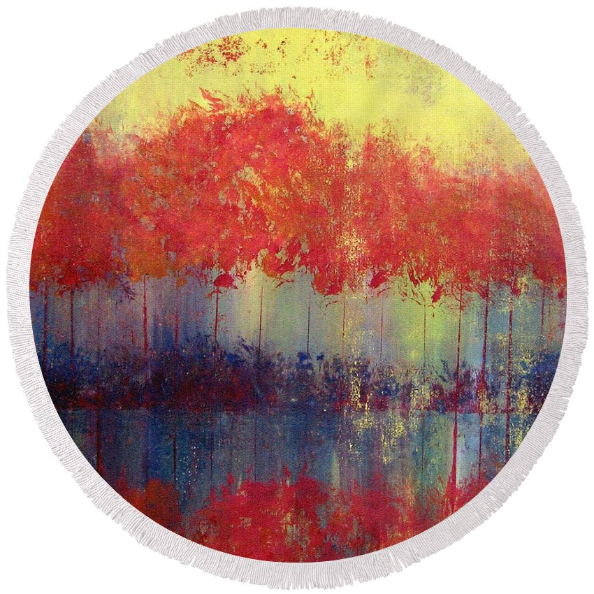 Abstract Round Beach Towel featuring the painting Autumn Bleed by Ruth Palmer