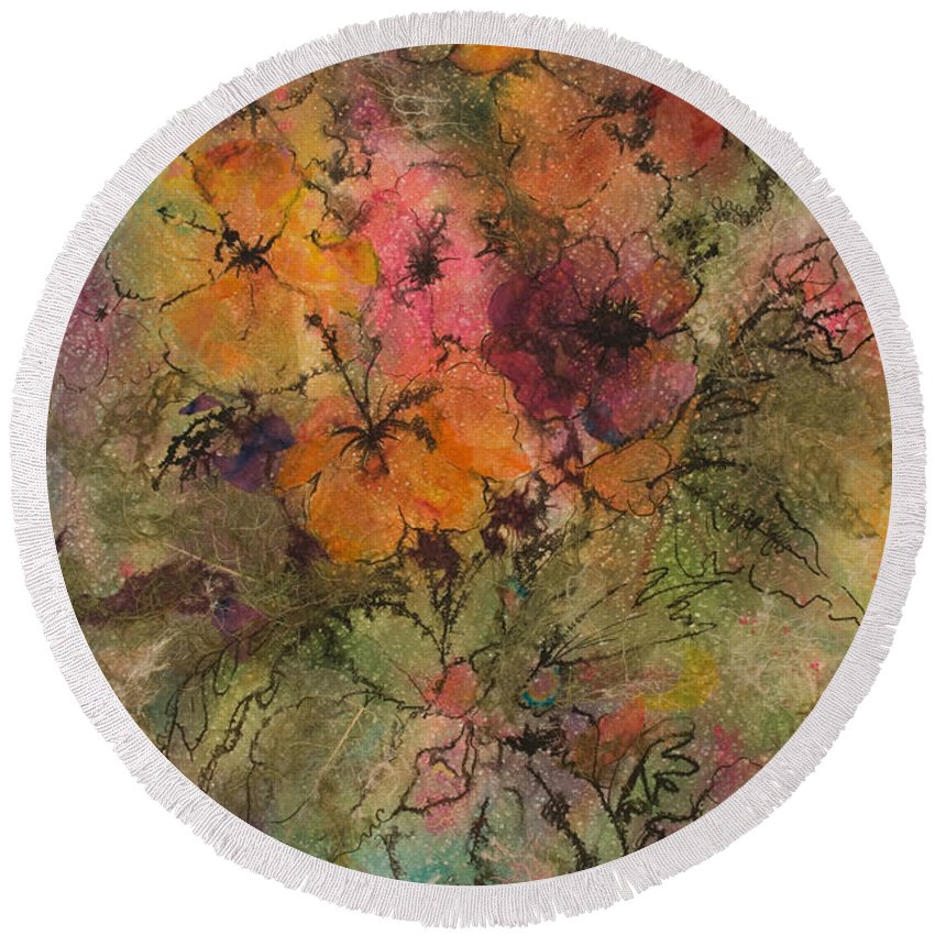 Floral Round Beach Towel featuring the painting Autumn Blooms by Barbara Colangelo