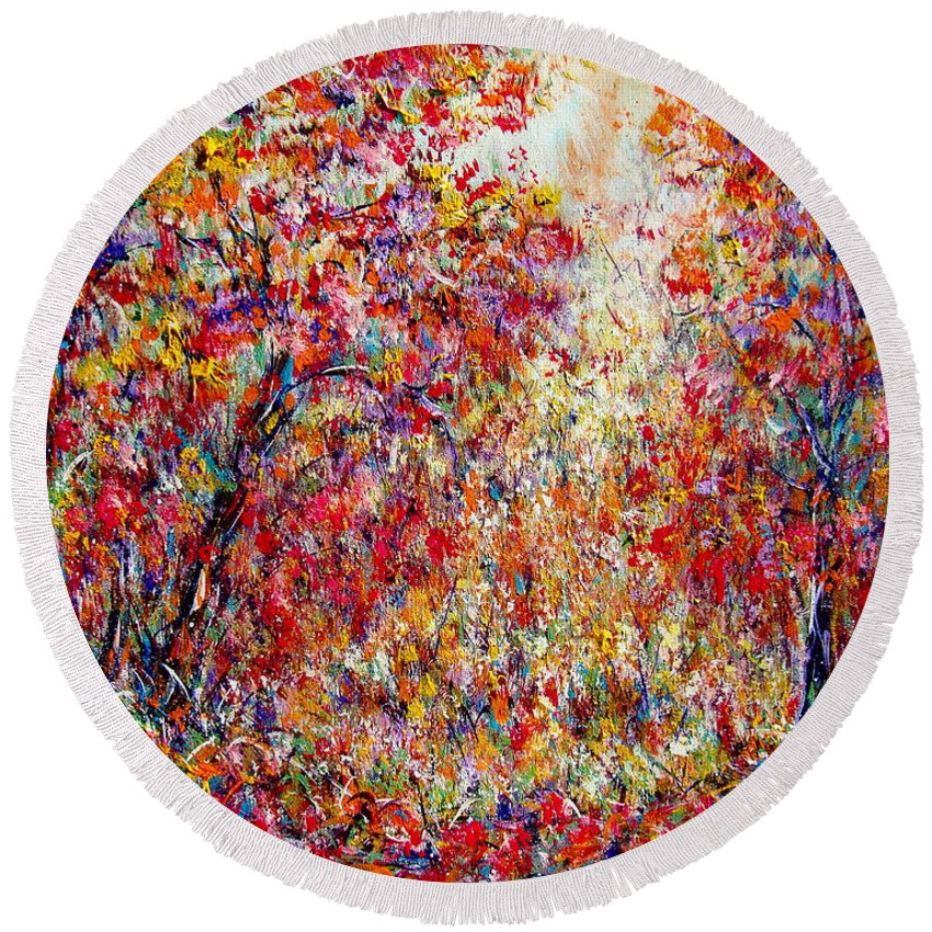 Nature Round Beach Towel featuring the painting Autumn Brilliance by Natalie Holland