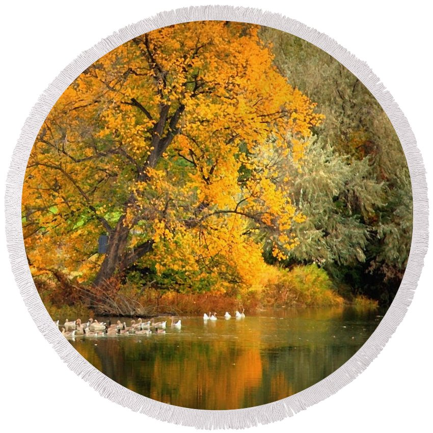 Fall Round Beach Towel featuring the photograph Autumn Calm by Carol Groenen