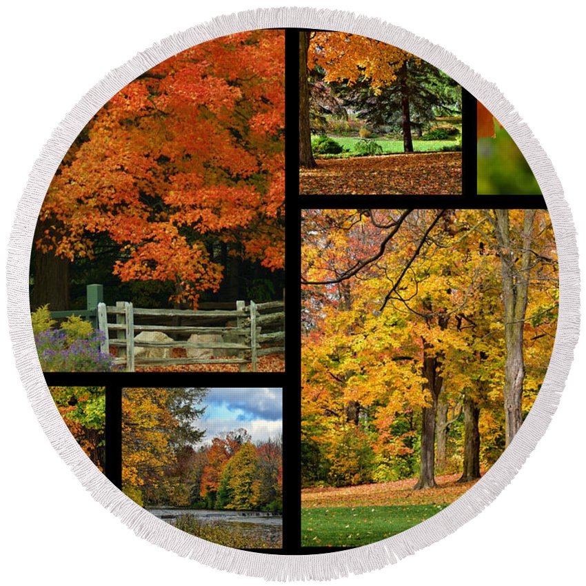 Autumn Round Beach Towel featuring the photograph Autumn Collage by Maria Keady