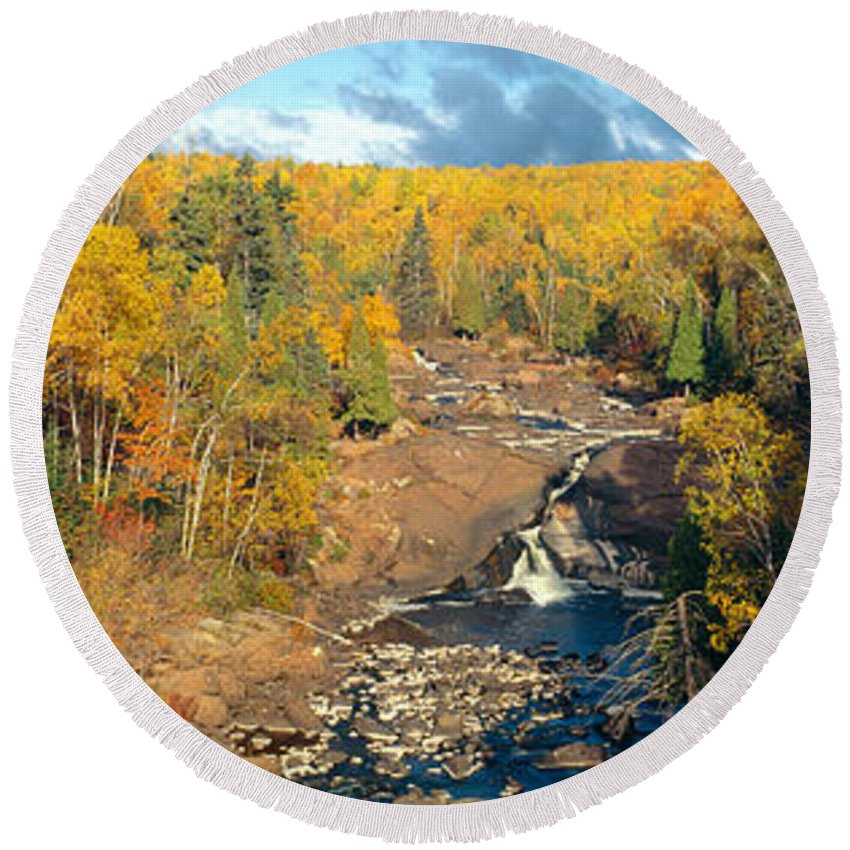 Photography Round Beach Towel featuring the photograph Autumn Color Along Beaver River by Panoramic Images