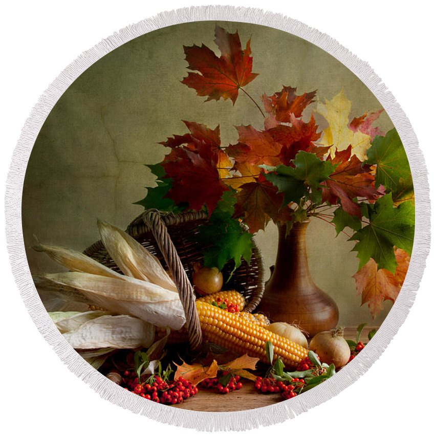 Still Round Beach Towel featuring the photograph Autumn Colors by Nailia Schwarz