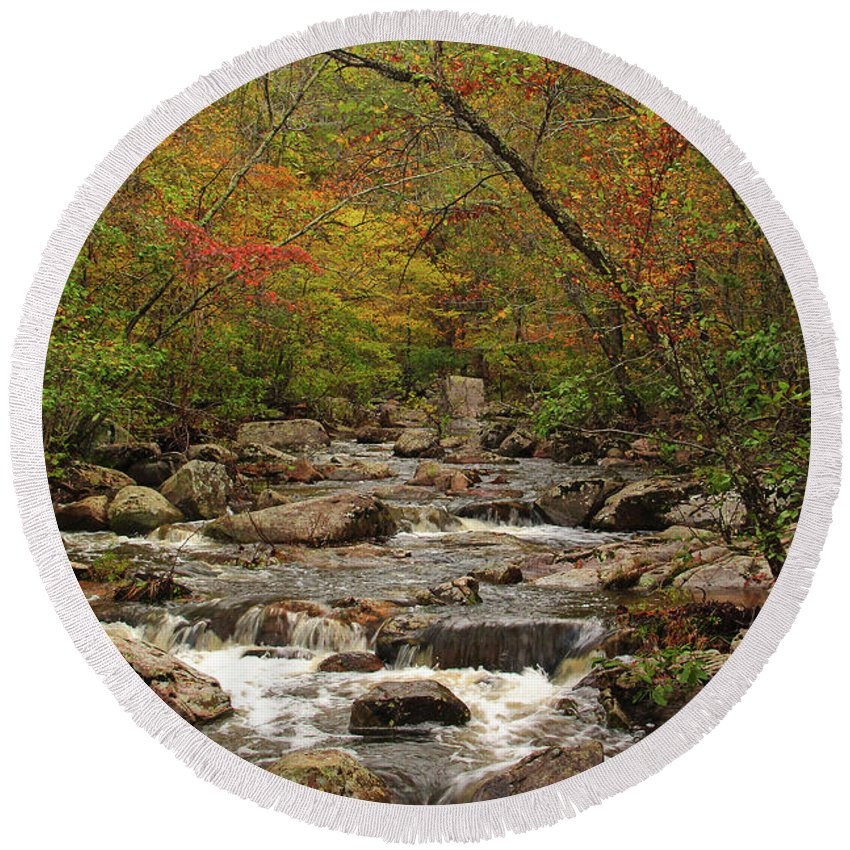 Pickle Creek Round Beach Towel featuring the photograph Autumn Colors On Pickle Creek 2 by Greg Matchick