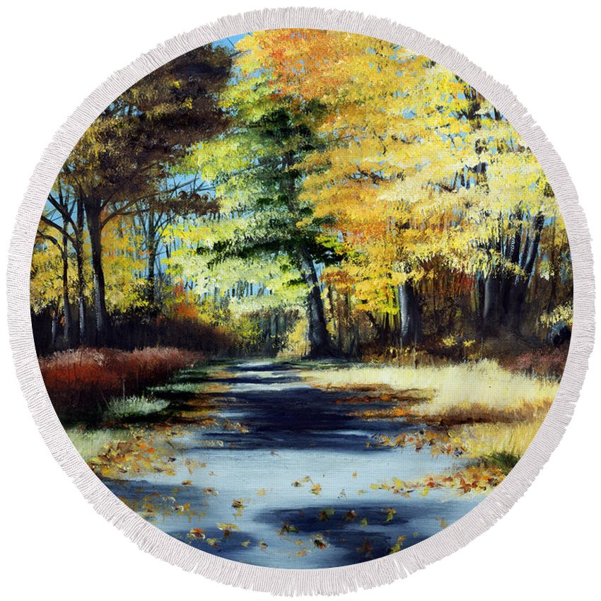 Landscape Round Beach Towel featuring the painting Autumn Colors by Paul Walsh