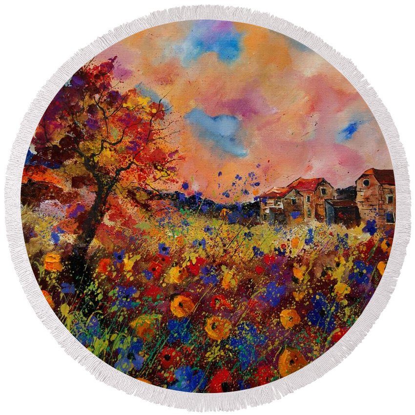 Poppies Round Beach Towel featuring the painting Autumn Colors by Pol Ledent