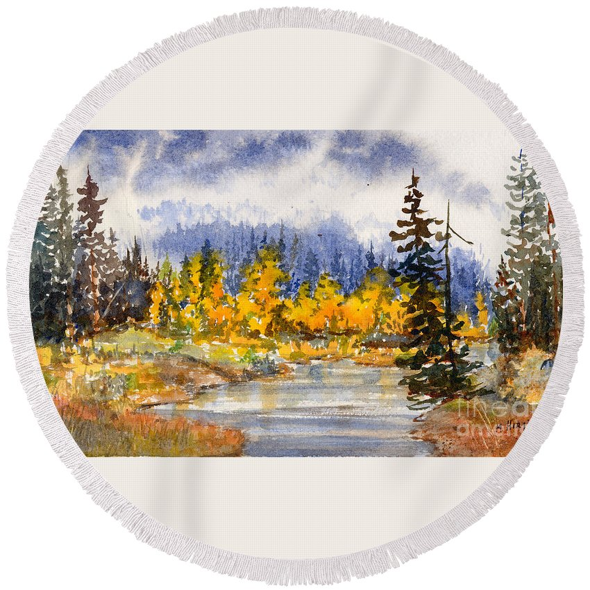 Round Beach Towel featuring the painting Autumn Colours by Mohamed Hirji